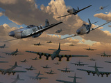 B-17 Flying Fortress Bombers and P-51 Mustangs in Flight