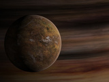 Artist's Concept of a Mars-Like Moon in Front of a Gas Giant