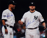 Joba Chamberlain And Derek Jeter Dual Autographed 2008 On Field Horizontal Photograph