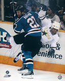 Jeremy Roenick Autographed Checking Stephane Robidas Vertical Photograph