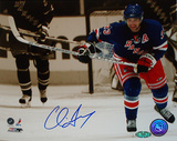 Chris Drury Autographed Skating Up Ice Sepia Tone Photograph