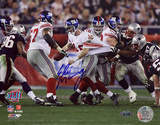 Eli Manning Autographed Super Bowl XLII Escaping Tackle Photo