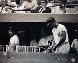 Yogi Berra And Ken Regan Dual Autographed Yogi Berra In Dugout w/ Roger Maris B&amp;W Horizontal Photog