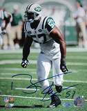 Bart Scott Autographed Arms at Sides Jets White Jersey Vertical Photograph