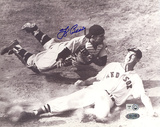 Yogi Berra Autographed vs Ted Williams Slide B&amp;W Horizontal Photograph