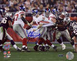 Eli Manning Autographed Super Bowl XLII Escaping Tackle Horizontal Photo