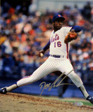 Doc Gooden Mets Pinstripe Jersey Pitching Vertical Photo Signed in Silver