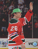 Patrik Elias Autographed Alternate St Pattys Day Jersey Wave To The Crowd Vertical Photograph