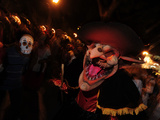 People Dressed Up for the 'Comparsa' or Day of the Dead Procession