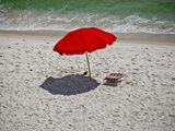 A Red Umbrella on the Beach at Gulf Shores  Alabama