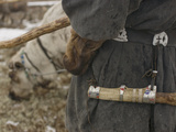 A Komi Reindeer Herder's Knife Scabbard on His Decorated Belt