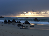Twilight on a Pacific Ocean Beach with Large Boulders