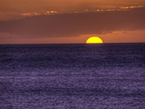 Setting Sun in the Pacific Ocean  Near the Island of Maui  Hawaii