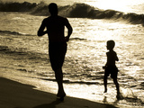 Father and Son Run on Grande Riviere Beach at Sunset