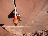 A Climber Traditionally Climbs 'Desert Moon ' a 511 on the Catwall