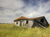 A Log Cabin Collapses into the Prairie Landscape