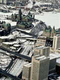 An Aerial View of Central Ottawa Including Parliament Hill and Canal