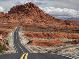 The Valley of Fire Highway Winds Towards Lake Mead  Nevada