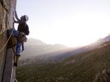 A Climber on Pitch 6 of 'snot Girlz' a 510 Sport Climb