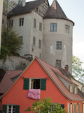 Castle in Town of Meersburg with Orange Home in Foreground