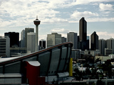 A View of Calgary's Skyline with the Saddledome in the Foreground
