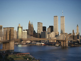 Part of the Brooklyn Bridge Leading to the World Trade Center and the Lower Manhattan Skyline
