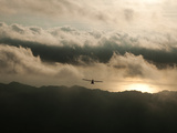 An Ultralight Flies over the Nicoya Peninsula at Sunset