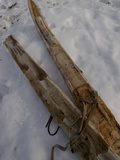 A Handmade Pair Skis with Reindeer Skins on the Bottom