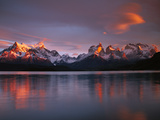 Cuernos Del Paine at Dawn and Lago Pehoe  Torres Del Paine National Park  Patagonia  Chile
