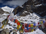 Prayer Flags  Gotcha La  Five Thousandm  Kangchenjunga  Talung Face  Sikkim Himalaya  India
