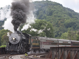 Western Maryland Scenic Railraod 2-8-0 No734 Crossing Trestle into Depot