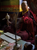 A Tibetan Buddhist Monk Praying in Dhankar Gompa