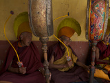 Monks in Ceremonial Hats Beat Drums at the Karsha Gustor Festival