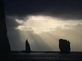Silhouetted Cliffs with Stormy Skies  North Coast  Eysturoy  Faroe Islands