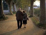 An Elderly Couple Walking Along a Tree-Lined Dirt Road