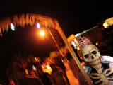 A Person Dressed Up for the 'Comparsa' or Day of the Dead Procession