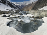 White River Rapids Flow over Spring Snow Bank  Arthur&#39;s Pass National Park  Canterbury  New Zealand