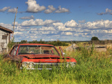 An Abandoned Red Car from the 1970S Sits in a Field