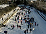 Skaters Enjoy a Beautiful Winter Afternoon on the Rideau Canal  Ottawa