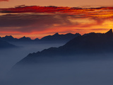 Mountain Range in Fog at Twilight  Switzerland