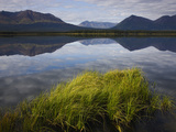 Reflections of Mountains in Calm Lake  Kluane Range in Background  Yukon  Canada