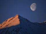 Moon over Snow-Covered Mountains  Kluane Nat&#39;l Park  Canada