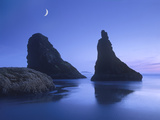 Sea Stacks at Dusk Along Bandon Beach with Rising Moon  Oregon