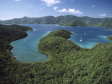 Aerial View of Hurricane Bay  Virgin Islands National Park  St John Island  Caribbean