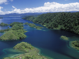 Aerial View of Islands at Southeast End of Lake Kutubu  the Highlands  Papua New Guinea