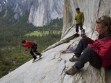 Climbers Swing on a 200-Foot-Long Rope known as the Alcove Swing