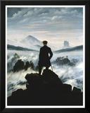 Le Voyageur contemplant une mer de nuages, vers 1818 Reproduction laminée et encadrée par Caspar David Friedrich