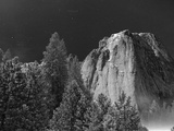 A Full Moon Lights Up El Capitan Late at Night