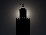 Silhouetted Minaret of Koutoubia Mosque  Largest Mosque in Marrakech