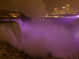 Niagara&#39;s American Falls Lit at Night in Winter